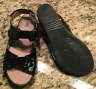 SoftWalk Size 85 WW Black Crinkle Patent Leather Dana Point Strap Sandals Women