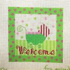 Mindy Welcome Baby Carriage Birth Record Handpainted Needlepoint Canvas