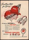 Vintage magazine ad TEXACO FIRE CHIEF gas oil 1946 woman in hat driving and sign