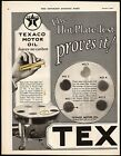 Vintage magazine ad TEXACO MOTOR OIL 1926 The Hot Plate Test Proves It 2 page