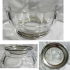 Marked R in Circles 12 Sided Clear Glass Fruit or Salad Bowl Silver Plate Base