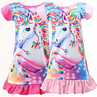 Kids Girl Unicorn Tunic Sleepwear Pajamas Nightwear T shirt Skirt Dress Fancy