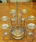 Mid Century Modern  Culver  6 pc Wine Glass and Decanter Barset with Caddy.