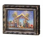 Nativity Lighted Hanging Picture Frame Water Lantern in Swirling Glitter