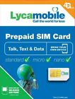 LYCAMOBILE Sim Card Prepaid Fits all phones Lot of 100 available