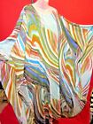 Vintage Graphic print Volcanic Streaked Bohemian Caftan Dress One Size Fits Most