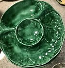 Vintage Green Ceramic Handpainted Appetizer Luncheon Plates Set Of Six