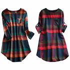 Plus Size Women Plaid Check Long Sleeve Tunic Dress Ladies Casual Long Blouse