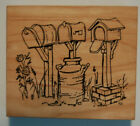 VIP Mailboxes in a row Milk can Bird house Vintage mail box Rubber stamp