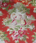 Antique French Figural Scenic Floral Cotton Fabric Children Persimmon Red Green