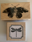 2 wood block mounted rubber stamps Butterfly and dragonfly