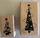 2 wood mounted rubber stamps Christmas Trees