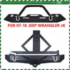 Front Rear Bumper Winch Cree LED Light Tire Carrier For 07 18 Jeep Wrangler JK