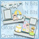 ITS A BOY Printed Premade Scrapbook 2 Page Layout
