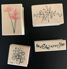 4 wood mounted rubber stamps flowers and squiggles