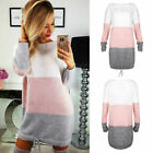 Womens Striped Baggy Oversized Jumper Pullover Top Sweater Sweatshirt Dress