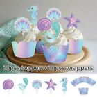 40Pcs Lot Mermaid Cupcake Wrappers Toppers Birthday Party Baby Shower Supplies