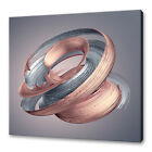 ABSTRACT METALLIC SWIRL ROSE GOLD BRUSH STROKE BOX CANVAS PRINT WALL ART PICTURE
