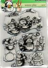 New Penny Black RUBBER STAMP clear WINTER PLAY snowballs  Sleds free usa ship