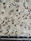 1 2 yd Tan Brown White Tossed Leaf Foliage Kings Road Cotton Quilt Fabric