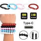 New Creative 8Pin Type C Data Cable Bead Bracelet Charger For Android Cell Phone