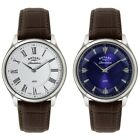 Rotary Mens Revelation Brown Leather Strap Watch with Reversible Dial RRP £549