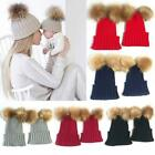 BEANIE HAT BABY & Mother Matching Outfits Winter Wool Hat Knit Fur 2 Pcs Red NEW