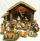 FONTANINI ITALY NATIVITY PAPER MACHE 21 STABLE +17 8 FIGURES ANGEL ANIMALS