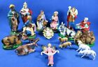 Vintage 19 Piece Nativity Set Christmas Paper Mache Made In Italy