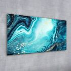 Wall Art Glass Print painting Watercolour abstract blue yellow 100x50
