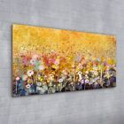 Wall Art Glass Print Nature landscape painting flower meadow yellow 100x50