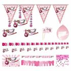Decorations for Birth of Girl Balloons Bunting Garlands Flags Confetti Pink