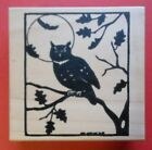 Owl Silhouette Rubber Stamp Northwoods Night Moon Tree Branch Bat Leaves