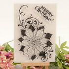 Christmas Poinsettia Transparent Clear Silicone Rubber Stamp Scrapbooking Card