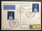 1948 Vienna Austria Stationery Postcard First Day Cover To New York Usa Olympics