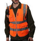 Safety Vest W High Visibility Reflective Stripes Orange Yellow Security Tops
