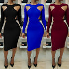 US Women Casual Formal Bodycon Long Sleeve Evening Party Cocktail Club Dress