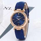 Fashion WomenS Leather Casual Watch Luxury Analog Quartz Crystal Wristwatch Blue