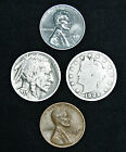 Mixed lot 4 Old US Coins Buffalo Liberty V Nickel Steel Wheat Cent Penny