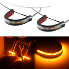 1 Pair Bright Amber LED Fork Strips Turn Signal Lights For Motorcycle Universal