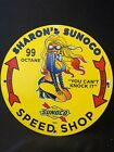 Vintage porcelain Sunoco Pin Up Sign Pump Plate Racing Oil 1962 Speed Shop