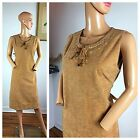 Vintage 70s Faux Suede Native American Hippie Boho Belted Smock Festival Dress M