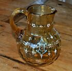 Antique Moser Bohemian Amber Glass Enameled Inverted Thumbprint Pitcher