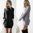 Women Knitted Roll Neck Pockets Jumper Dress Ladies Sweater Short Mini Dresses P