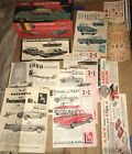 1960s lot of 22 different INSTRUCTION SHEETS for various plastic car models