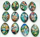 Lot of 12 pcs OVAL DICHROIC FUSED GLASS pendant F10 CABOCHONS HANDMADE