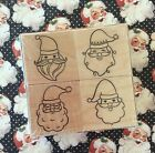 Santa Faces Christmas Wood Mount Rubber Stamp Set Hero Arts Holiday Scrapbooking