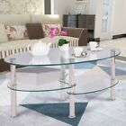 Tempered Glass Oval Side Coffee Table Shelf Chrome Base Living Room Clear New