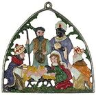 Large Nativity Scene German Pewter Christmas Ornament Decoration Made in Germany