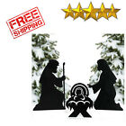 Silhouette Nativity Scene Yard Signs 3pc Metal Outdoor Christmas Decorations NEW